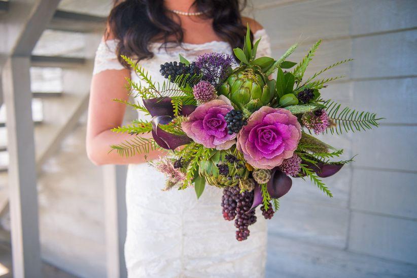 artichoke and cabbage bridal bouquet