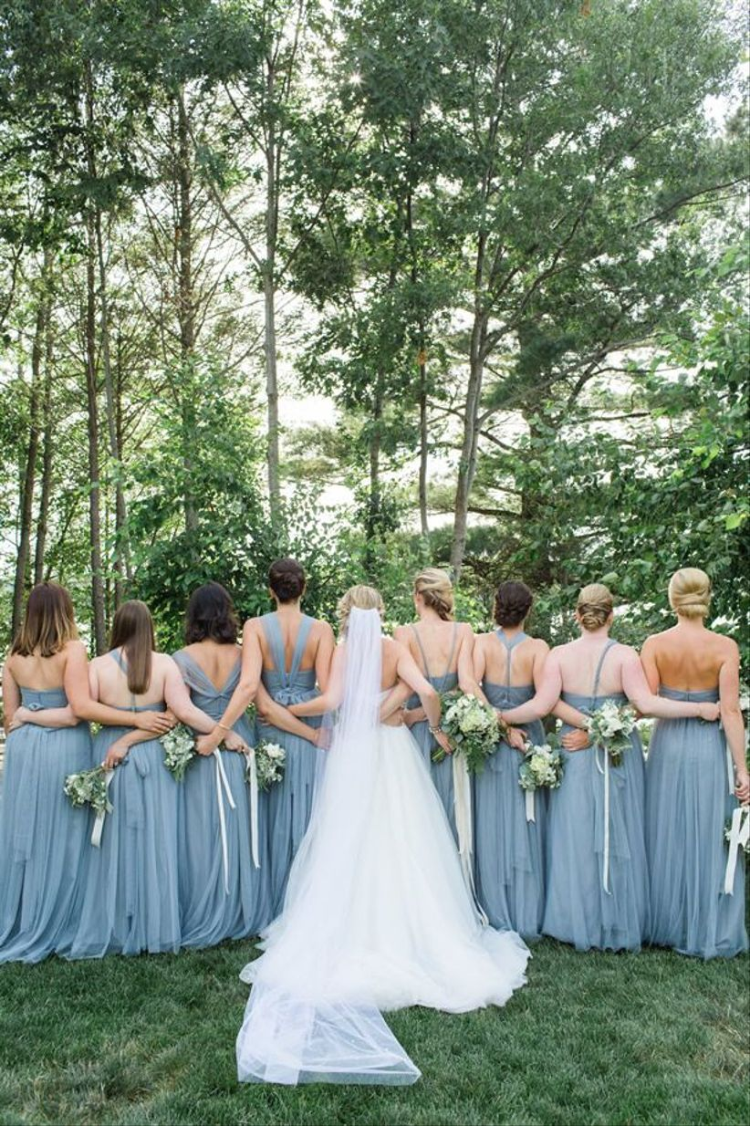 long blue bridesmaid dresses