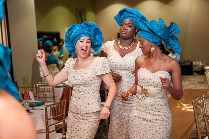 23ed8588a3b These six aso ebi members show off their creativity with a variety of dress  styles — short with peplum detail