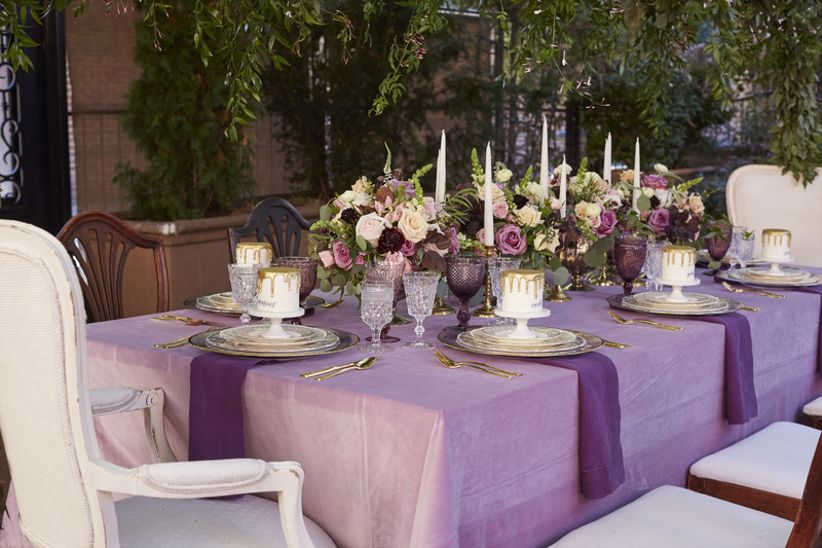 ultra violet wedding ideas, romantic tablescape with purple linens and gold details