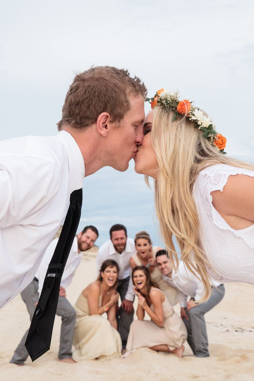 A Background Kiss <li>wedding party