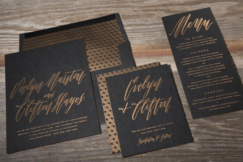 ravishing home show giveaway ideas. black and gold wedding invitation The Wedding Invitation Trends 2018 Couples Must See  WeddingWire