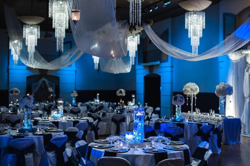 gobo lit ballroom blue bella sera event center