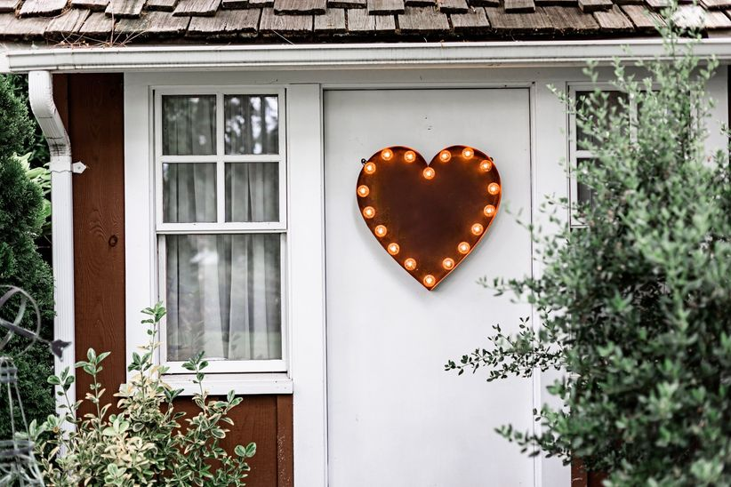heart-shaped marquee light for outdoor wedding venue