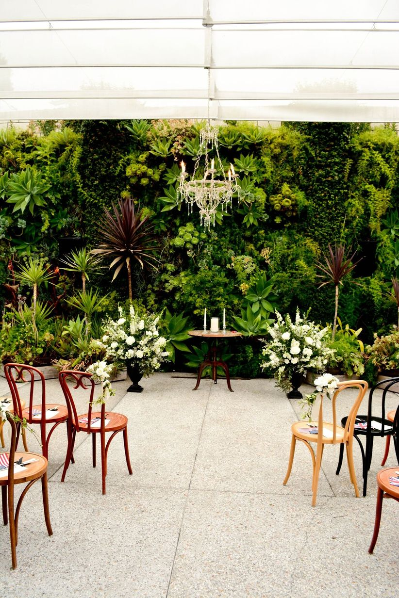 bentwood cafe chairs at ceremony