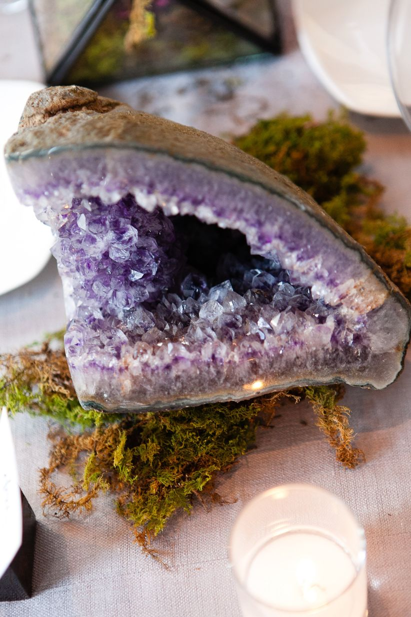 geode centerpiece for bohemian wedding