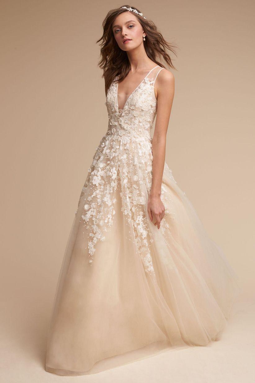 bhldn v neck wedding dress