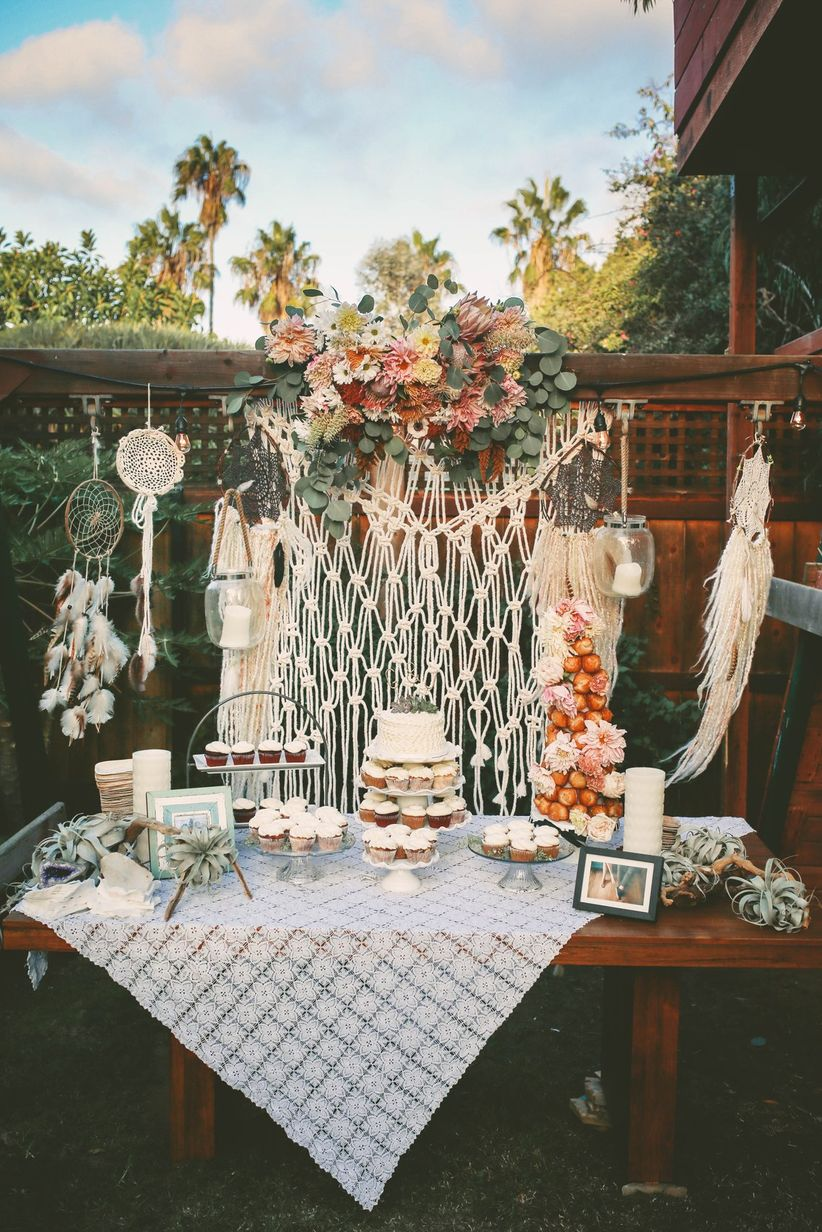 boho chic dessert display