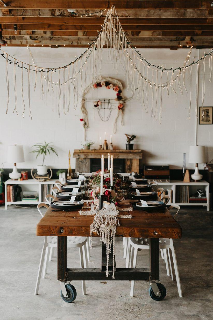 boho chic wedding reception decor