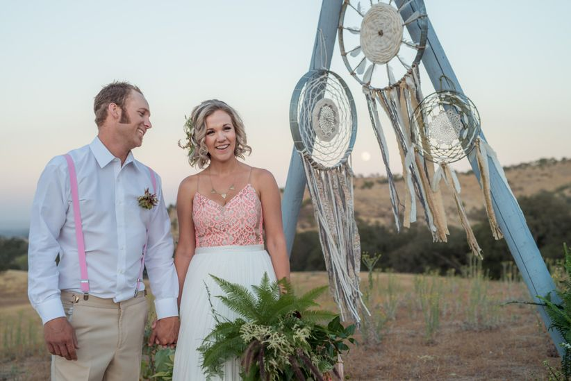 boho couple hearts and horseshoes