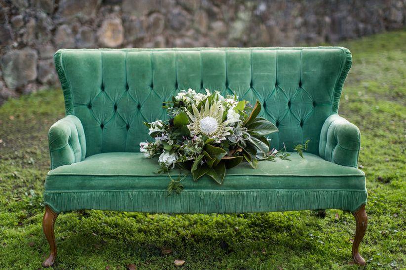 vintage velvet loveseat for outdoor wedding lounge