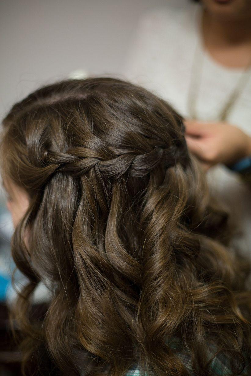 curly waterfall braid bridesmaid