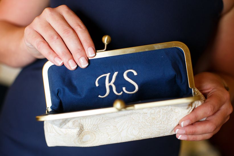 bridesmaid monogram clutch