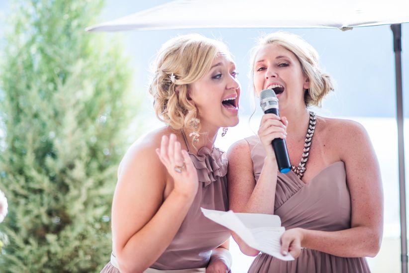 bridesmaids singing speech toast reception