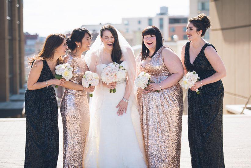 glam bridesmaids in sequined dresses