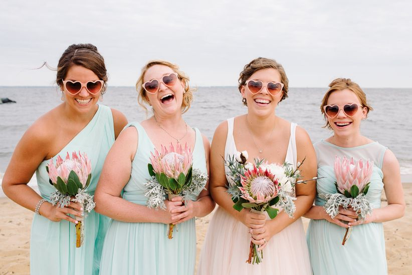 bridesmaids in sunglasses