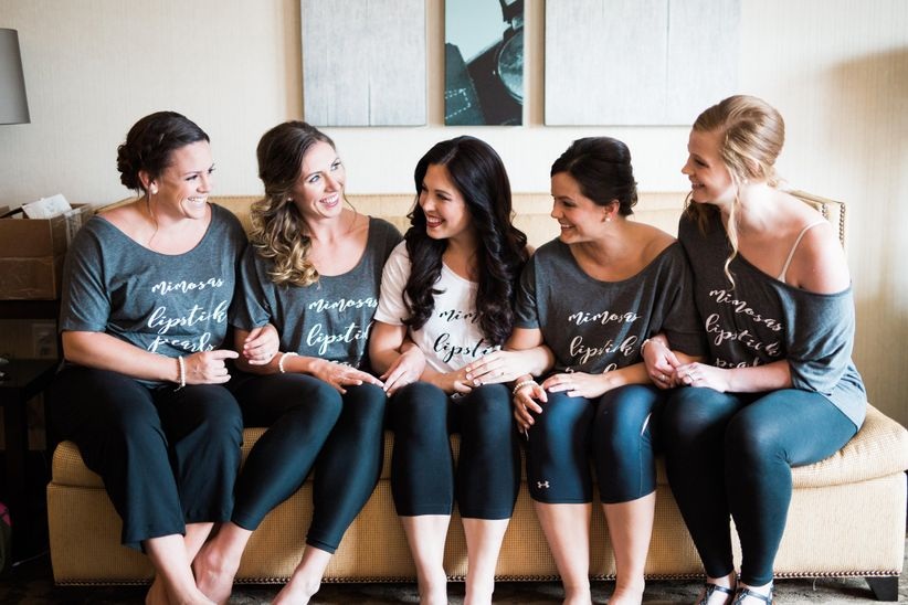 bride with bridesmaids t-shirts