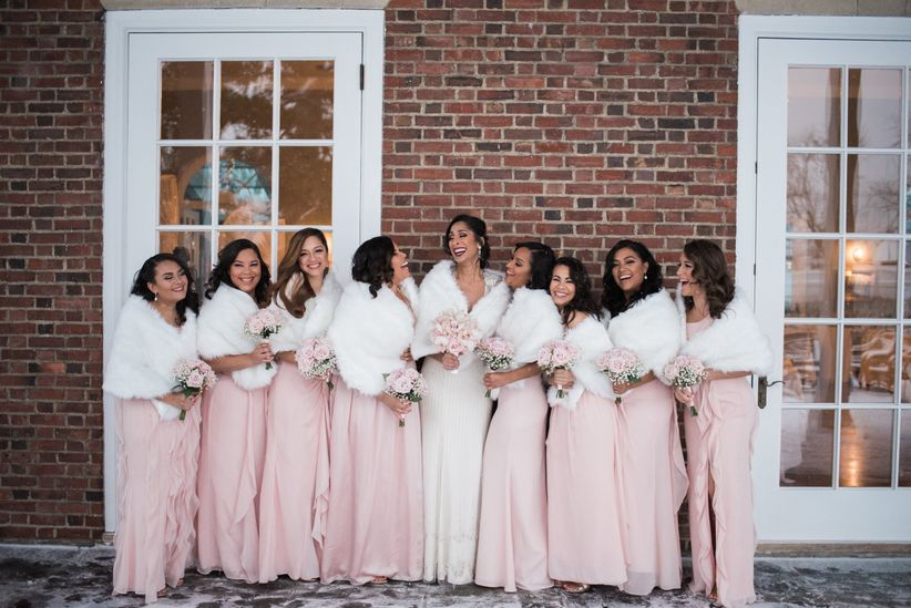 bridesmaids in winter wedding