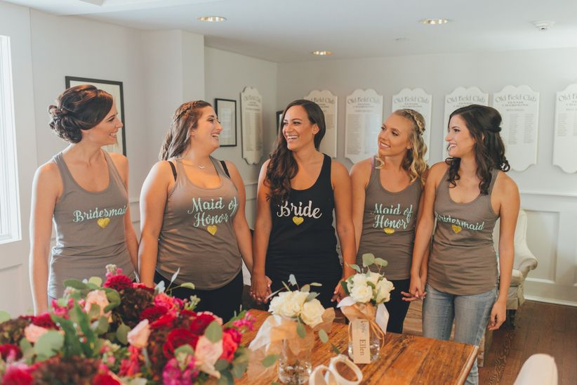 bridesmaids in tank tops