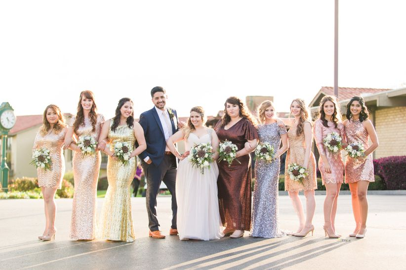 wedding party glam with bridesman