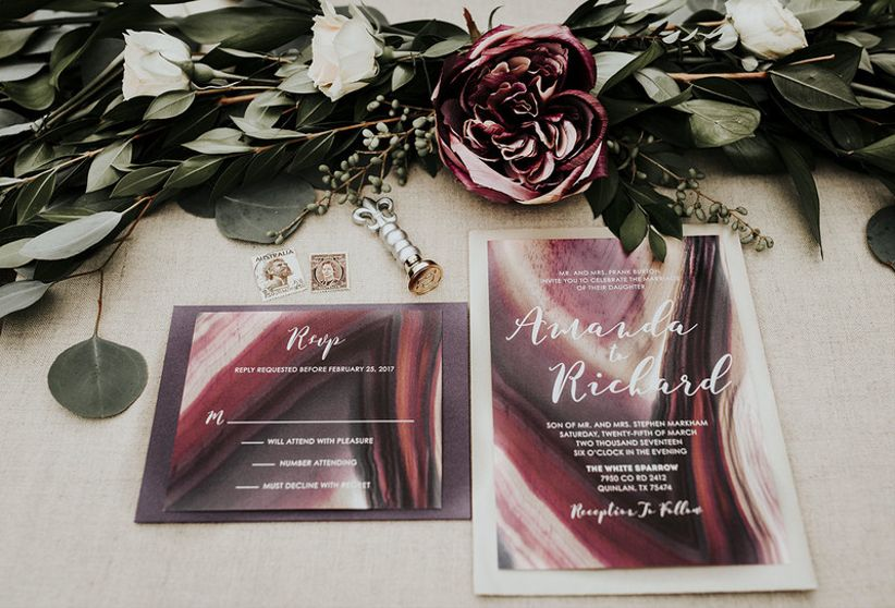 moody and dramatic wedding invitations with dark purple and burgundy marble design