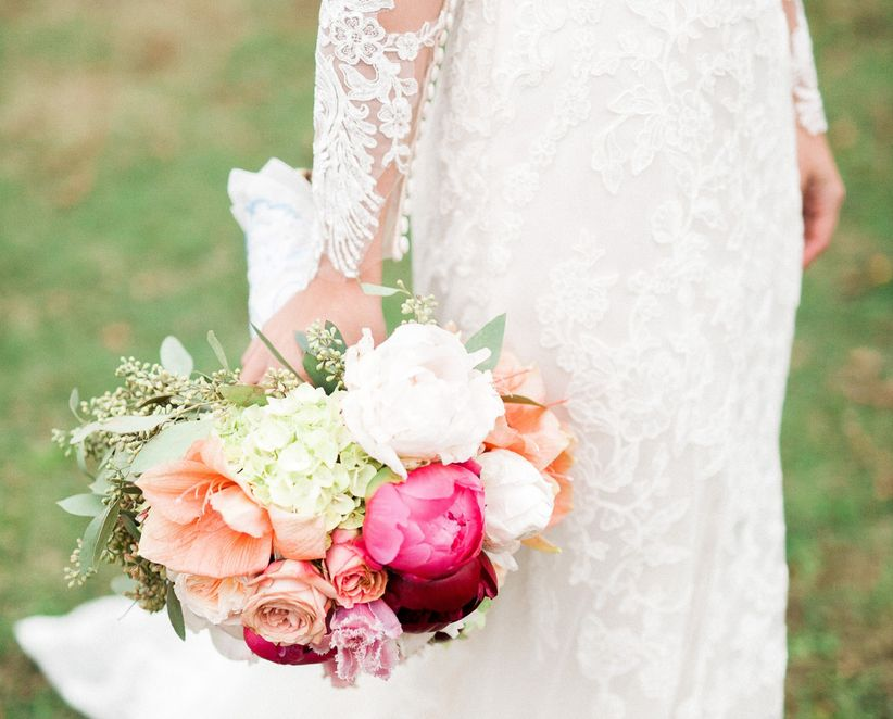 fall peony and rose bridal bouquet