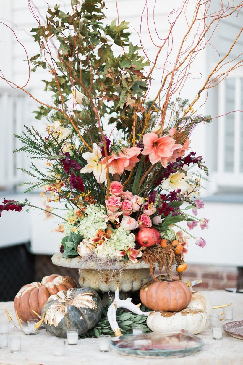 elegant fall wedding centerpiece