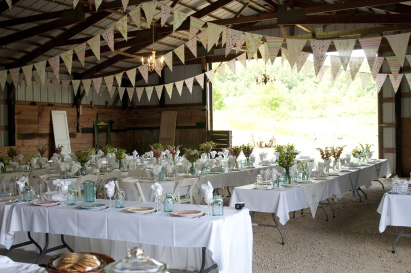 barn venue with bunting