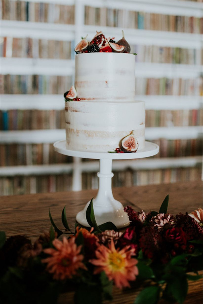 buttercream wedding cake with fresh figs on top