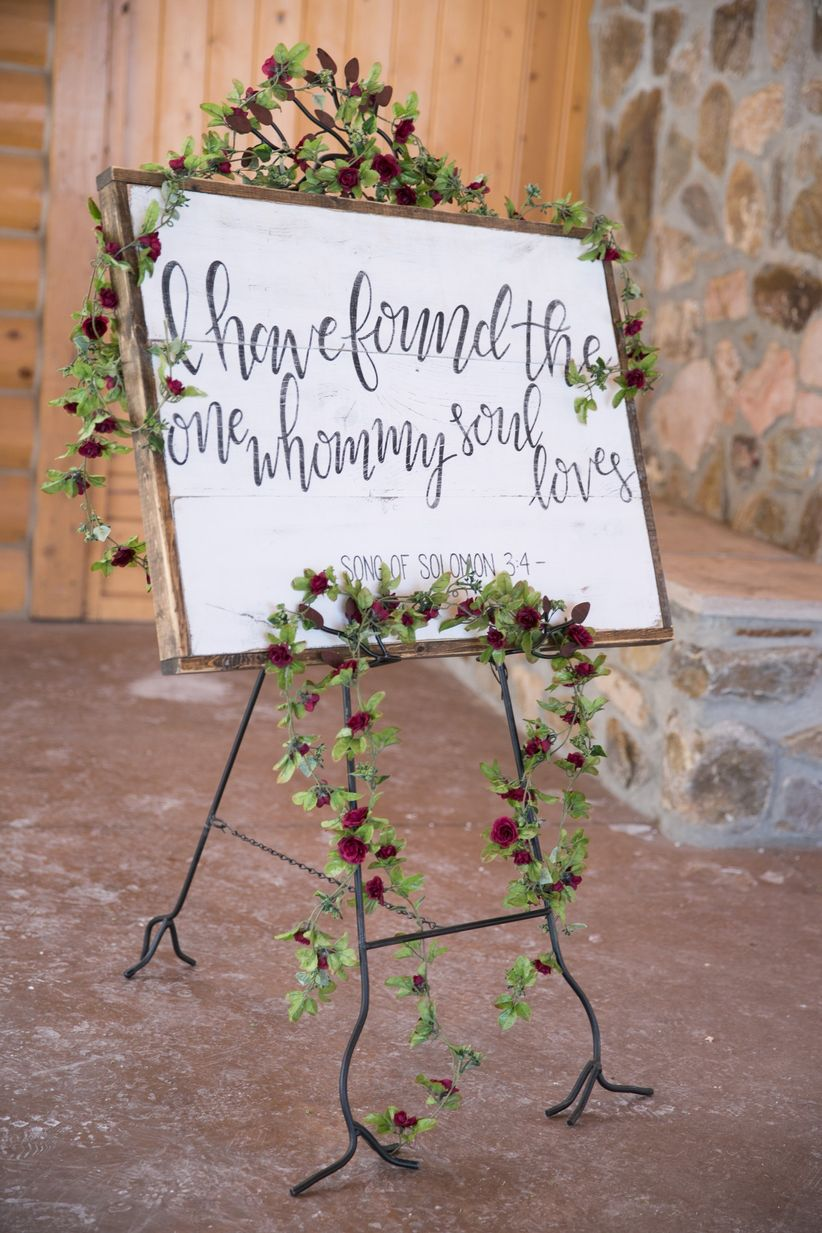 11 romantic wedding signs we love weddingwire bibe verse wedding sign junglespirit Choice Image