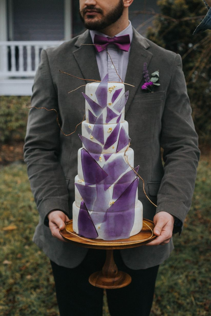 modern purple wedding cake with gold accents