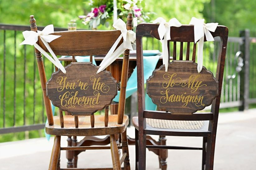 calligraphy signs on chairs - cardinal rose photography