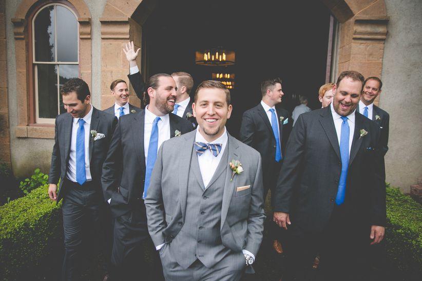 Groomsmen in gray suits
