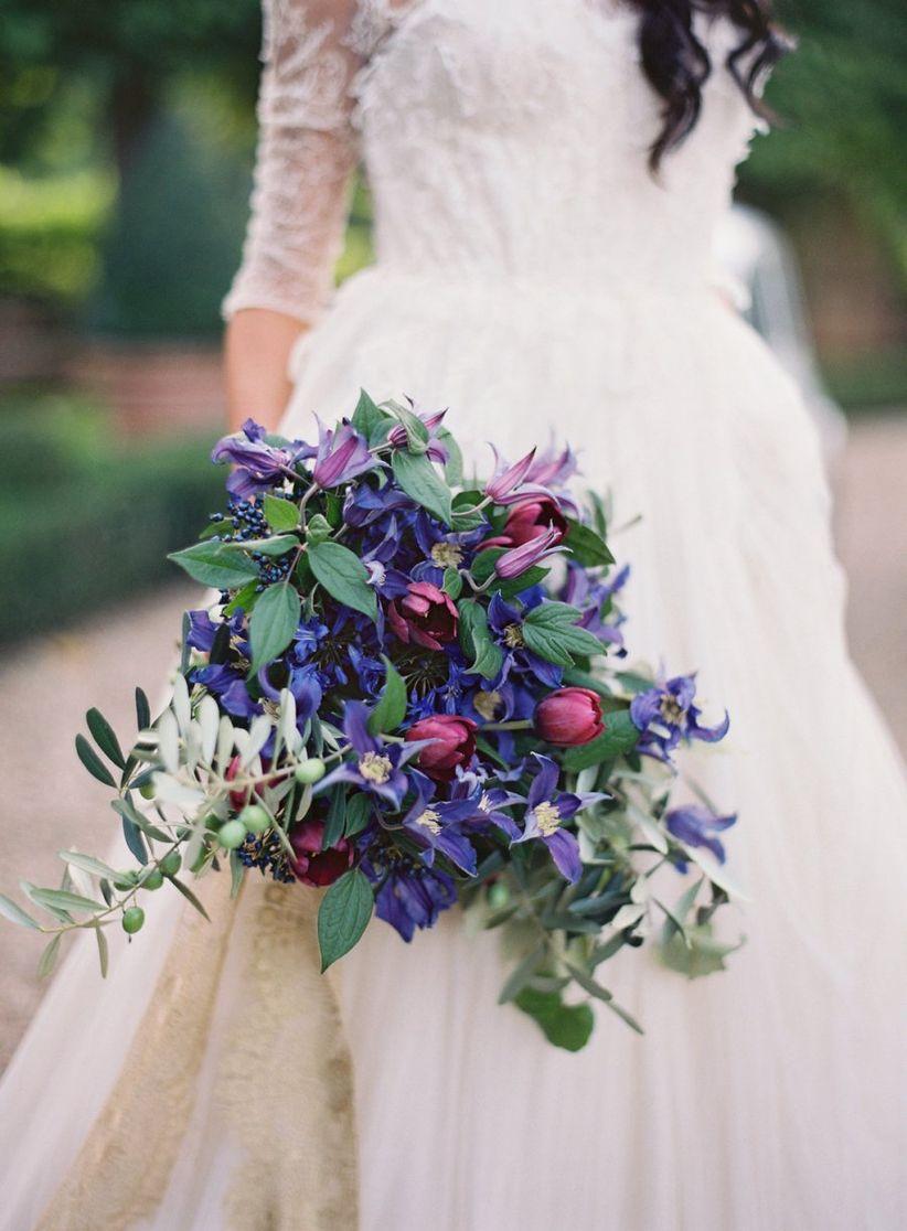 purple cascading bouquet