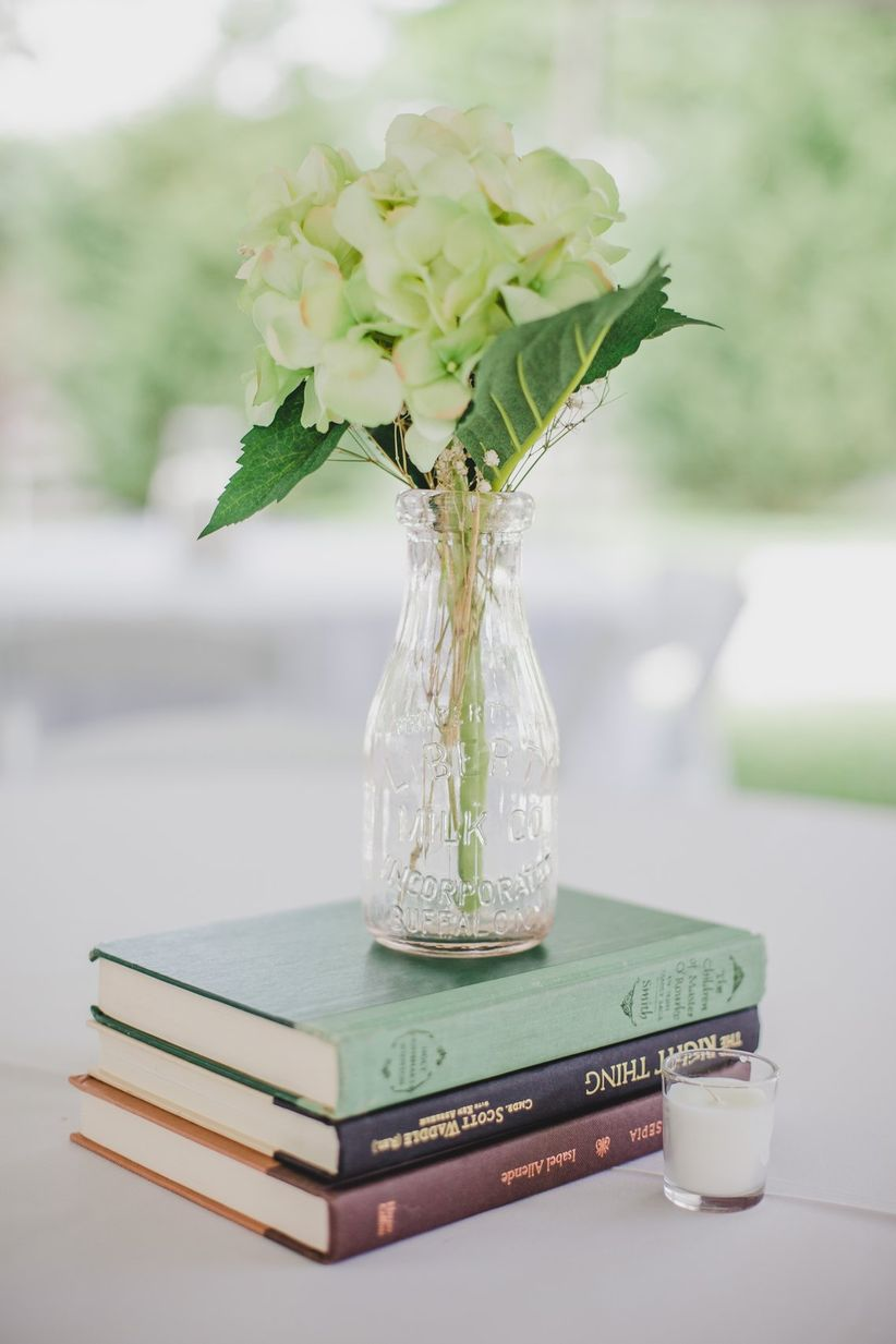 Vintage centerpiece with books