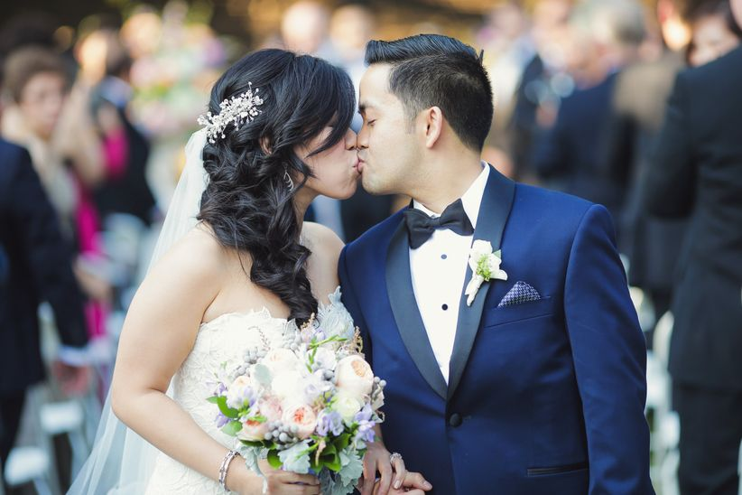 couple kissing recessional