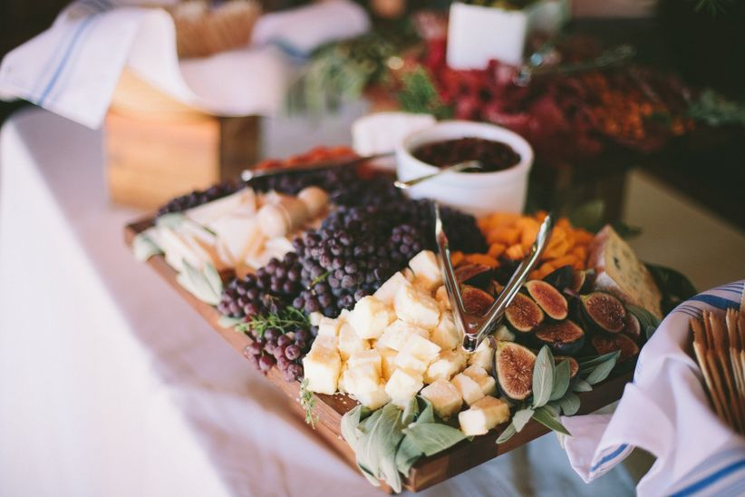 fruit and cheese platter at wedding