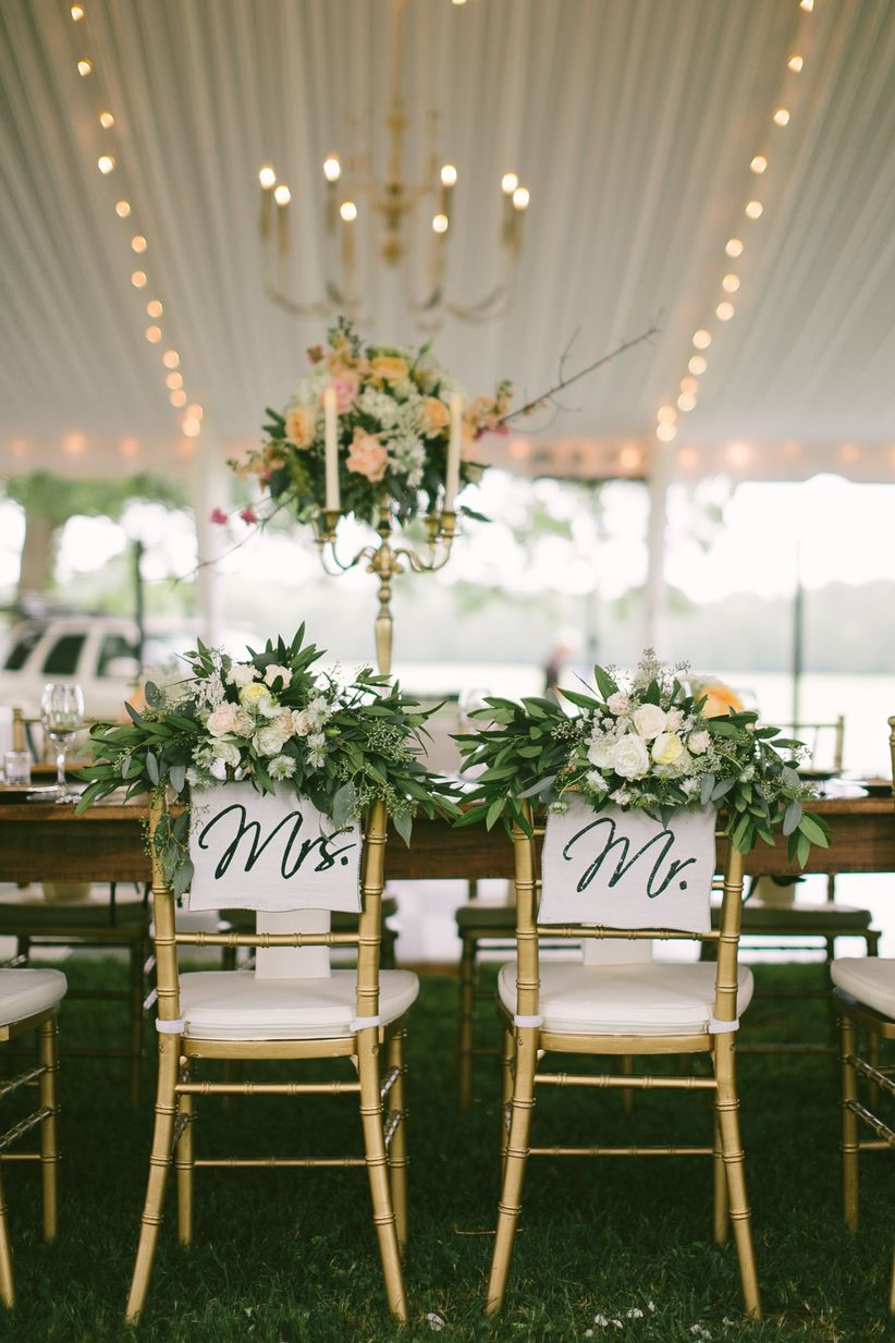 Chiavari chairs with signage