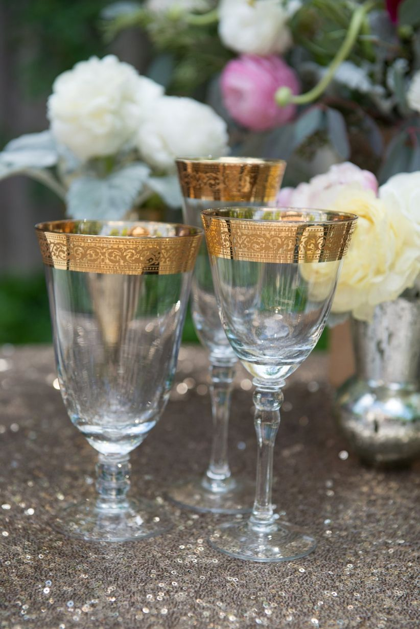 close up gold edged drinking goblets