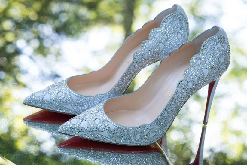 silver bedazzled pointed toe heels