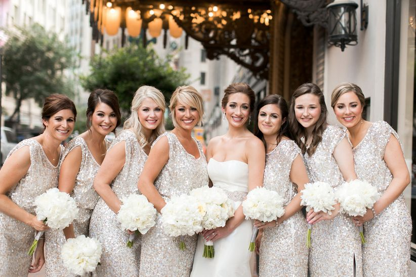 Bridal party in sequins with bride