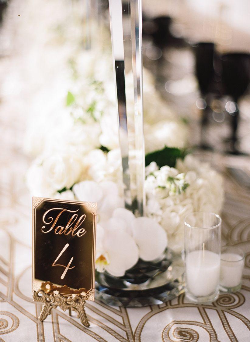Formal wedding table numbers