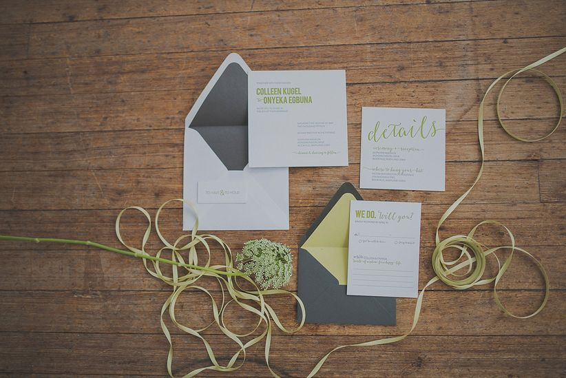 Invitation Suite green ribbons and queen anne's lace
