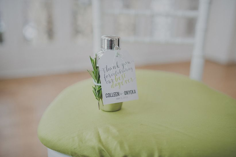 mini cocktail shaker with sprig of rosemary and thank you note