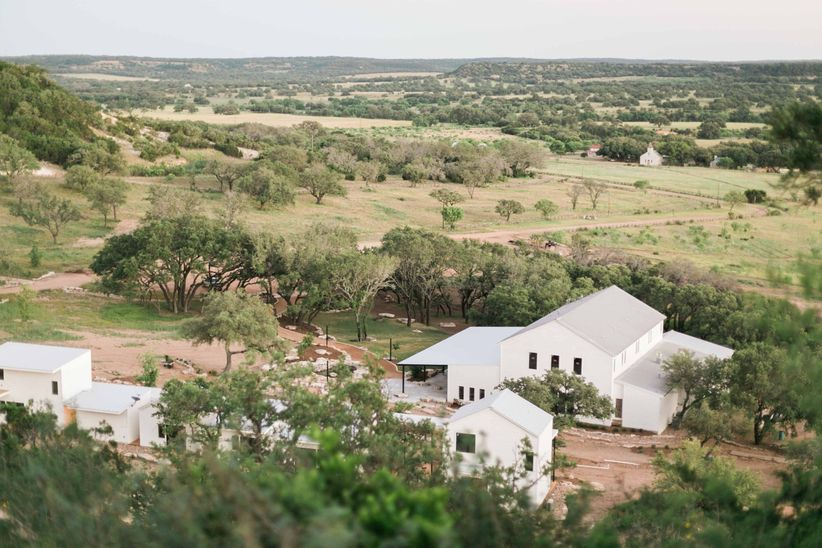 aerial photo of rustic countryside wedding venue in Texas