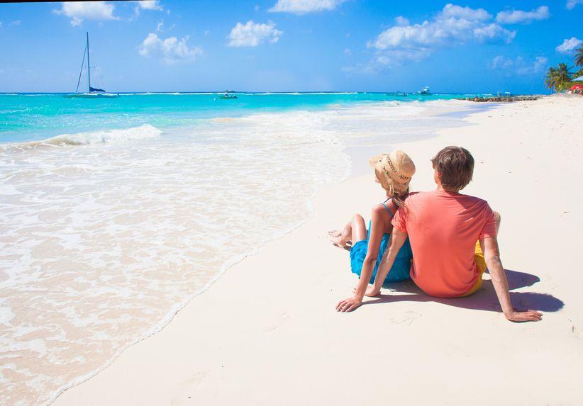 couple on barbados beach