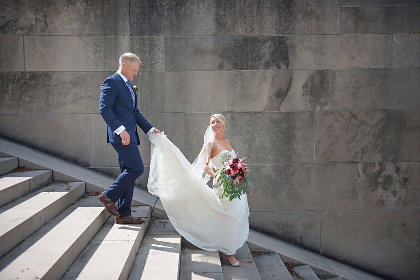 couple walking down stairs