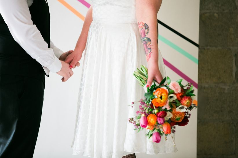 gay wedding ideas colorful bouquet