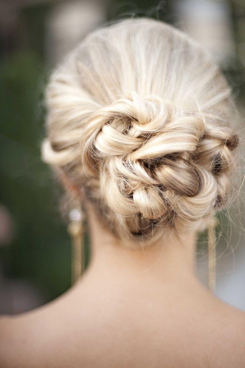 Bridesmaid chignon curly bun