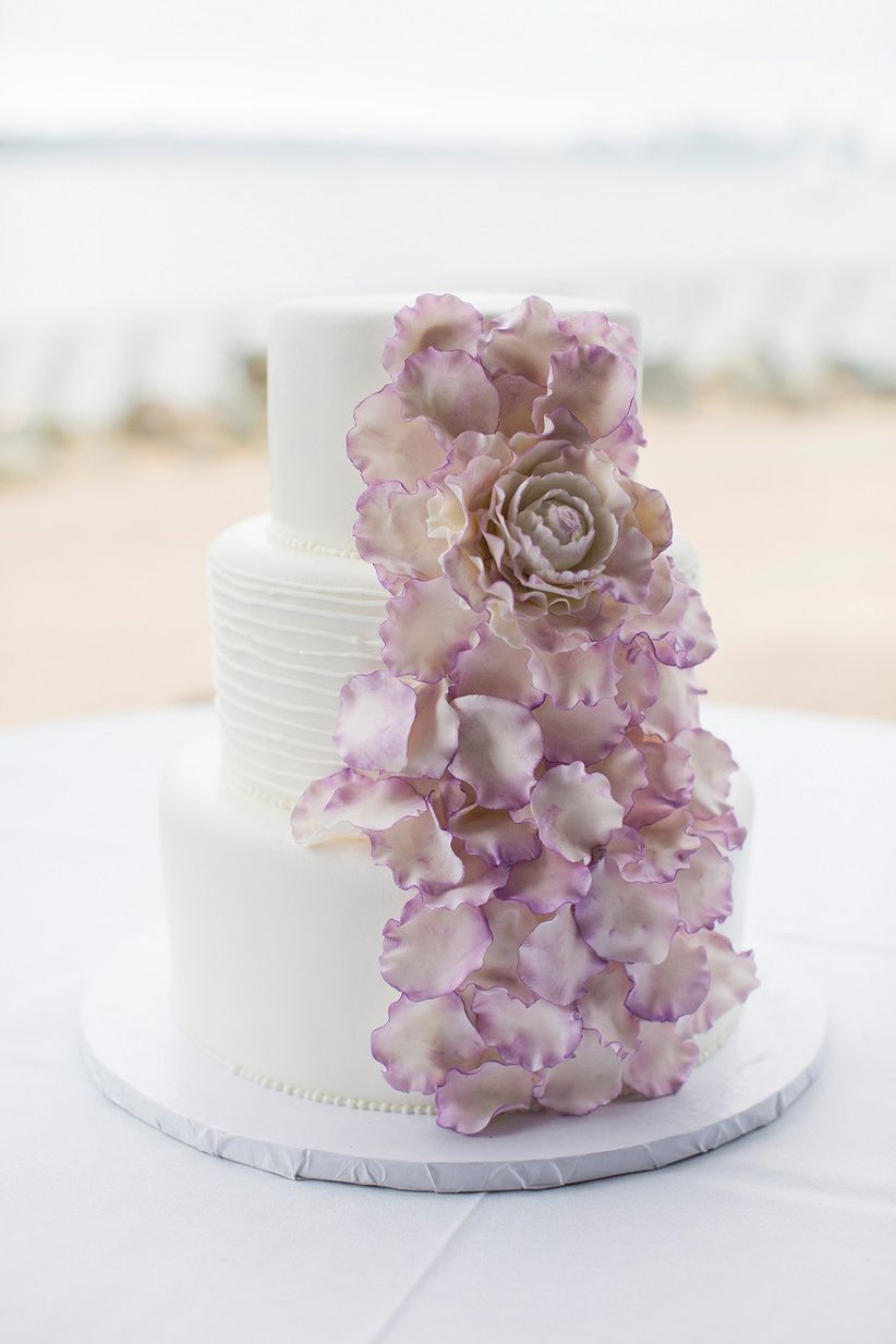 purple and white bohemian wedding cake with sugar flowers